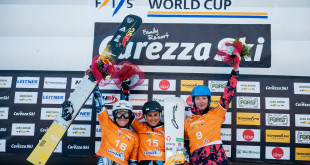 FIS Snowboard World Cup - Carezza ITA - PGS - Women's podium with 2nd LEDECKA Ester CZE, 1st  MESCHIK Ina AUT, 3rd ZAVARZINA Alena RUS © Miha Matavz