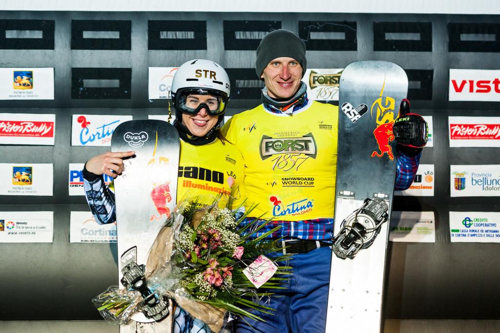 FIS Snowboard World Cup - Cortina d'Ampezzo ITA - PSL -  LEDECKA Ester CZE and SOBOLEV Andrey RUS © Miha Matavz
