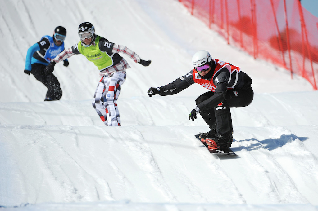 FIS Snowboard World Cup - La Molina SPA - SBX - Finals - Paul Berg (GER) in Red, Nikolay Olyunin (RUS) in Green and Regino Hernandez (SPA) in Blue