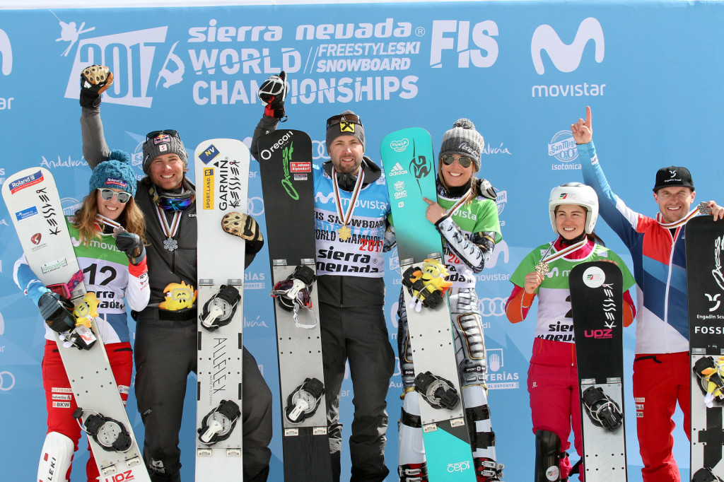Top-3 women and men PGS Sierra Nevada 2017 FIS Snowboard World Championships - 2nd Patrizia Kummer (SUI), Benjamin Karl (AUT), 1st Andreas Prommegger (AUT), Ester Ledecka (CZE), 3rd Ekaterina Tudegesheva (RUS), Nevin Galmarini (SUI)