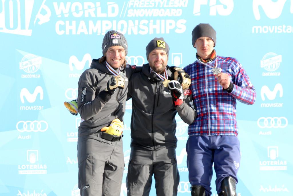 Men's Podium PSL Sierra Nevada 2017 FIS Snowboard World Championships - 2nd Benjamin Karl (AUT), 1st Andreas Prommegger (AUT), 3rd Andrey Sobolev (RUS)