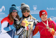 Women's Podium PGS Sierra Nevada 2017 FIS Snowboard World Championships - 2nd Patrizia Kummer (SUI), 1st Ester LEdecka (CZE), 3rd Ekaterina Tudegesheva (RUS)
