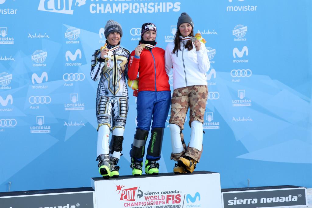 Women's Podium PSL Sierra Nevada 2017 FIS Snowboard World Championships - 2nd Ester Ledecka (CZE), 1st Daniela Ulbing (AUT), 3rd Alena Zavarzina (RUS)