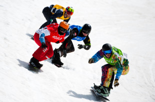 FIS Junior World Championships - Rogla SLO - SBX - KOBLET Kalle SUI in Red, ANISIMOV Andrey RUS in Green, ROLEY Sean USA in Blue and CATAPANO Lorenzo ITA in Yellow © Miha Matavz/FIS