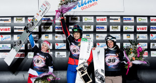 FIS Snowboard World Cup - Cortina d'Ampezzo ITA - PSL -      Women's podium with 2nd ZOGG Julie SUI, 1st  SCHOEFFMANN Sabine AUT, 3rd SOBOLEVA Natalia RUS © Miha Matavz