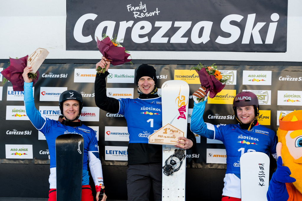 FIS Snowboard World Cup - Carezza ITA - PGS - Men's podium with 2nd GALMARINI Nevin SUI, 1st  SOBOLEV Andrey RUS, 3rd CAVIEZEL Dario SUI © Miha Matavz