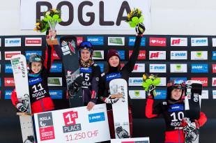 FIS Snowboard World Cup - Rogla SLO - PGS - Women's podium with 2nd SCHOEFFMANN Sabine AUT, 1st  HOFMEISTER Ramona Theresia GER, 3rd ZAVARZINA Alena RUS and 4th ULBING Daniela AUT © Miha Matavz/FIS