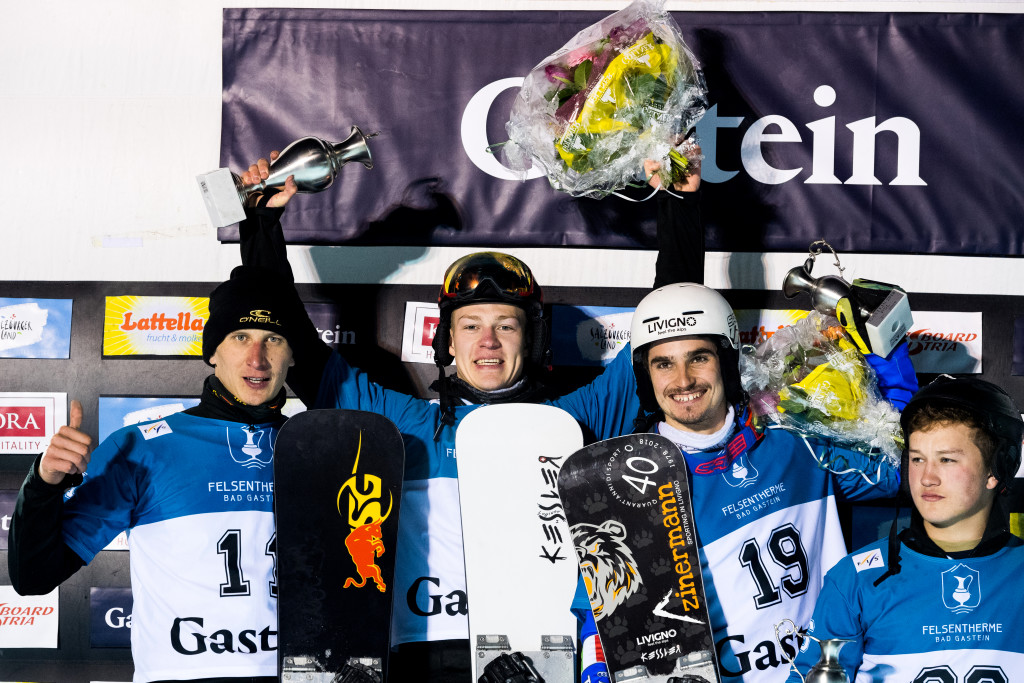 FIS Snowboard World Cup - Bad Gastein AUT - PSL - Men's podium with 2nd SOBOLEV Andrey RUS, 1st LOGINOV Dmitry RUS, 3rd BORMOLINI Maurizio ITA and 4th SARSEMBAEV Dmitry RUS © Miha Matavz/FIS