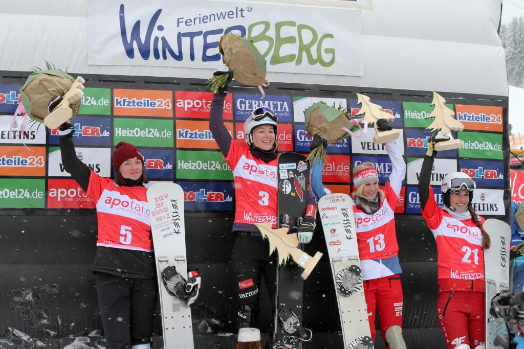 Women's podium PSL World Cup Winterberg (f.l.t.r.) 2nd Alena Zavarzina (RUS), 1st Selina Joerg (GER), 3rd Julie Zogg (SUI), 4th Aleksandra Krol (POL) © Oliver Kraus