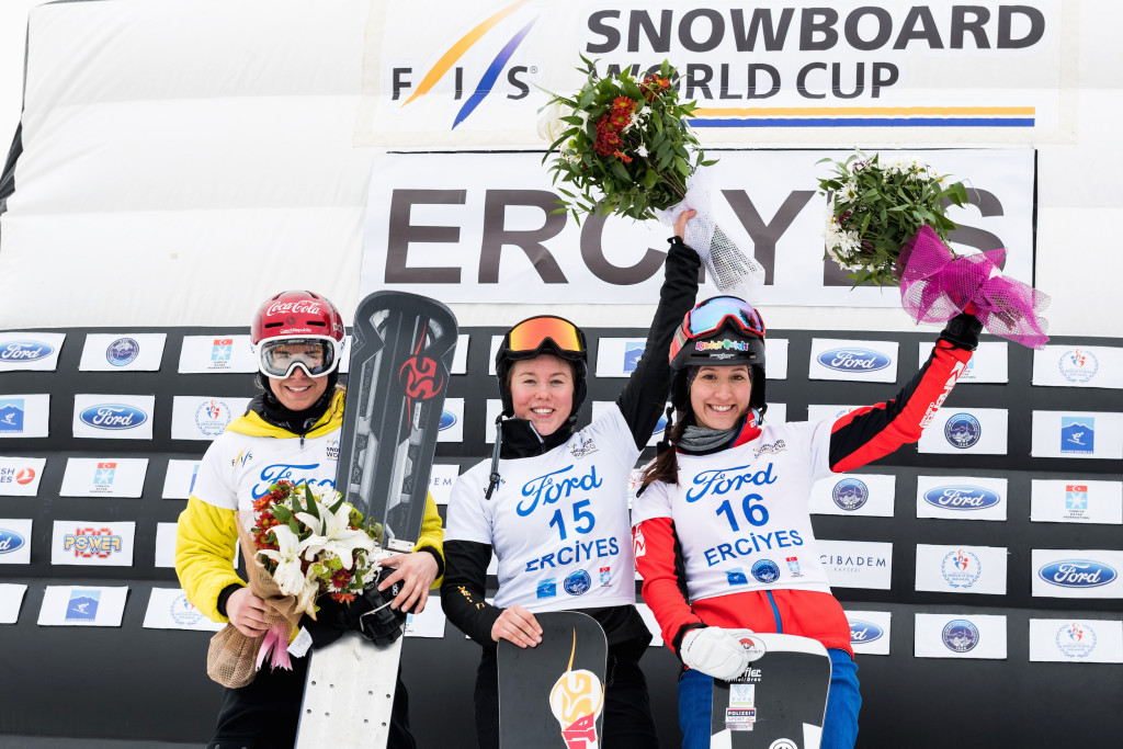 FIS Snowboard World Cup - Kayseri TUR - PGS - Women's podium with 2nd LEDECKA Ester CZE, 1st BYKOVA Milena RUS and 3rd ULBING Daniela AUT © Miha Matavz/FIS