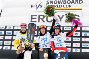 FIS Snowboard World Cup - Kayseri TUR - PGS - Women's podium with 2nd LEDECKA Ester CZE, 1st BYKOVA Milena RUS and 3rd ULBING Daniela AUT © Miha Matavz/FIS