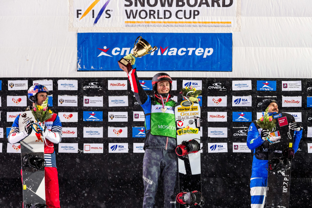FIS Snowboard World Cup - Moscow RUS - SBX - Men's podium with 2nd VAULTIER Pierre FRA, 1st HAEMMERLE Alessandro AUT and 3rd VISINTIN Omar ITA © Miha Matavz/FIS