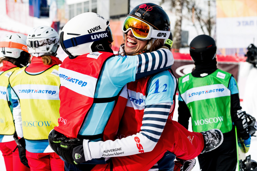FIS Snowboard World Cup - Moscow RUS - Team SBX - France 1(MOENNE LOCCOZ Nelly and TRESPEUCH Chloe) in Red © Miha Matavz/FIS