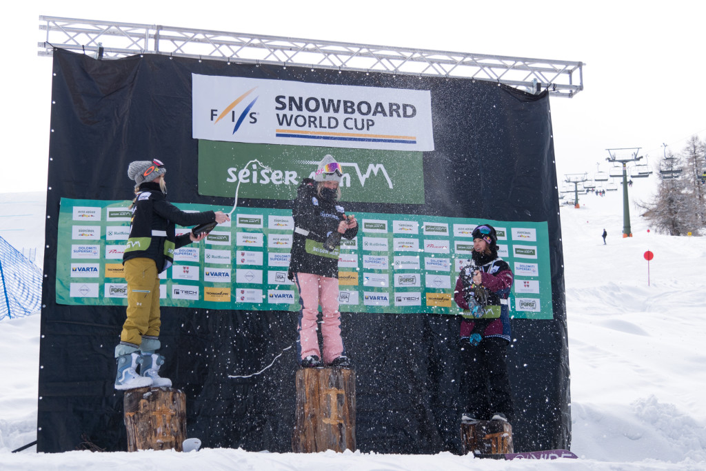 Ladies' slopestyle podium at the World Cup event in Seiser Alm (ITA). ltr 2nd Silje Norendal (NOR), 1st Sofya Fedorova (RUS), 3rd Sarka Pancochova (CZE). Photo: Mateusz Kielpinski (FIS).