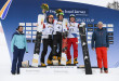 The Winners of todays race with second placed Dmitry Loginov of Russia, winner Andrey Sobolev of Russia and third placed Dario Caviezel of Switzerland, from left, react in the finish area at the FIS Alpine Snowboard Parallel Giant Slalom race, on Saturday, March 9, 2019, in Scuol, Switzerland.