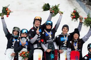 FIS Junior World Championship - Rogla SLO - Snowboard Parallel Team Event - PSL - Podium with 2nd team RUS3 (NADYRSHINA and STEPANKO), 1st team RUS1 (KUROCHKINA and LOGINOV) and 3rd team CAN1 (BUCK and GAUDET) © Miha Matavz/FIS