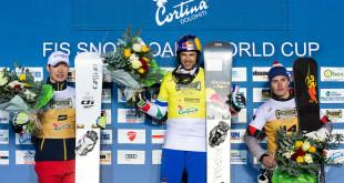 FIS Snowboard World Cup - Cortina d'Ampezzo ITA - PGS -   Men's podium with 2nd LEE Sangho KOR, 1st FISCHNALLER Roland ITA, 3rd SLUEV Igor RUS © Miha Matavz