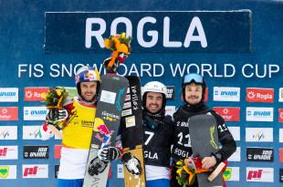 FIS Snowboard World Cup - Rogla SLO - PGS - Men's podium with 2nd FISCHNALLER Roland ITA, 1st CORATTI Edwin ITA, 3rd WILD Vic RUS  © Miha Matavz/FIS