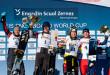 FIS Snowboard World Cup - Scuol SUI - PGS - Men's podium with 2nd KARL Benjamin AUT, 1st SOBOLEV Andrey RUS, 3rd KWIATKOWSKI Oskar POL and CAVIEZEL Dario SUI © Miha Matavz/FIS